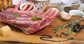 espinafre : Dolly close up view of ingredients for minted rack of lamb Stock Footage