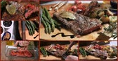 thyme : Collage of different views of a delicious sirloin steak with asparagus, potatoes and roasted tomatoes