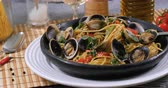 Dolly view of delicious spaghetti alle vongole (clams) Stock Footage