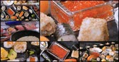 Collage of views of an assortment of Japanese food: sushi, nigiri, sashimi, rolls Stock Footage