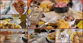 noz moscada : Collage of views of different kinds of Italian pasta with bolognese sauce: tortellini, lasagne, fettuccine