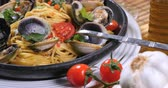 Dolly push in view of delicious Italian spaghetti alle vongole (clams)