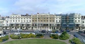 Aerial ascending view of a Regency square in Brighton and Hove