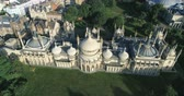 Aerial ascending view of Brighton pavilion, England Stock Footage