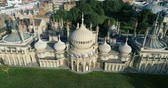 Aerial descending view of Brighton pavilion, England Stock Footage