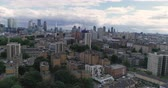 Aerial push in view of the skyline of the city of London from the North Stock Footage