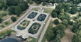 Aerial pull out view of the Italians gardens in Hyde park in London Stock Footage
