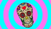 Animated background with mexican sugar skull. Day of the dead party 무비클립