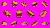 Animated background with fast food. burger, hot dog, taco, burrito. 무비클립