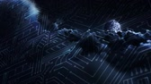 informática : Digitally generated circuit against the clouds at night Stock Footage