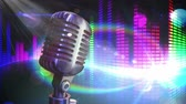 melodia : Digital generated video of mic against colored background 4k Stock Footage