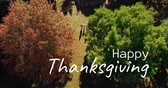 вид сверху : Digitally generated video of happy thanksgiving concept 4k