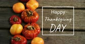 abóbora : Digitally generated video of happy thanksgiving day concept 4k Vídeos