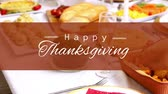 szampan : Digitally generated video of happy thanksgiving concept 4k