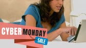 segunda feira : Digitally generated video of Cyber Monday text and woman shopping online on digital tablet 4k