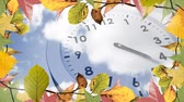 doğruluk : Digitally generated video of frame with autumn leaves and clock 4k