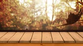 klon : Digitally generated video of wooden plank against autumn leaves 4k