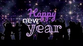 с Новым годом : Silhouette of various people dancing against New Year sign 4k