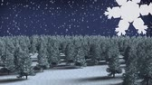 boreal : Digital composite of Winter forest with Christmas snowflakes falling