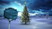 вывеска : Digital composite of Christmas tree and arrow sign in Winter landscape