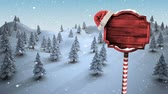 вывеска : Digital composite of Christmas sign and Winter forest trees in snow