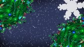 azevinho : Digital composite of Christmas Holly wreath and lights with falling snow Stock Footage