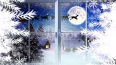 dólares : Digital composite of Snowflakes and window with Santa and reindeer flying in Winter Stock Footage
