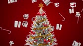 мишура : Digital composite of Christmas tree and falling Christmas gifts and candy