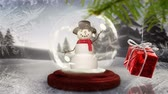 snow globe : Digital composite of Snowman in snow globe with Christmas decoration