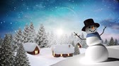 hóember : Digital composite of Snowman with Winter landscape