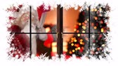 dólares : Digital composite of Christmas snowflake border with Santa in house with gifts