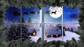 северный олень : Digital composite of Santa flying in sleigh with reindeer and Christmas tree border with Winter landscape