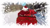 санки : Digital composite of Santa travelling in sleigh with winter landscape and trees