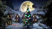 papai noel : Digital composite of Christmas trees in Winter village with moon