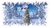 rena : Digital composite of Christmas snowflake border with Christmas tree in Winter landscape with Santa flying