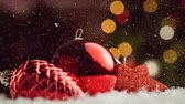 pinha : Digital composite of Falling snow with Christmas decorations