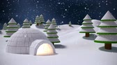 пышный : Digital composite of Igloo in winter scenery and falling snow