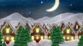 decorado : Digital composite of Video composition with snow over winter scenery at night
