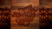 boldog karácsonyt : Digital composite of Video composition with snow over Christmas greeting on wood