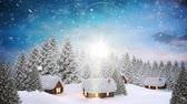 kerst huis : Digital composite of Video composition with snow over winter scenery at night