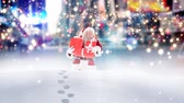 boldog karácsonyt : Digital composite of Santa clause walking through high snow combined with falling snow