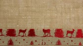 pano de saco : Digital composite of Falling snow with Christmas reindeer textile