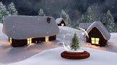 kerst huis : Christmas animation of illuminated huts and Christmas tree in magical forest at night. Snow falling over the snow covered landscape, trees and huts 4k