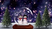 hóember : Cute Christmas animation of snowman couple in magical forest. Snow is falling over the forest in background 4k