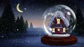 snow globe : Cute Christmas animation of illuminated hut. Snow falling over the snow covered landscape, trees 4k