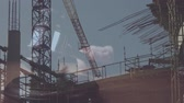spravedlnost : Digital animation of buildings under construction. Judges gavel banging on the block against the construction site 4k