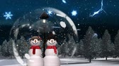 snow globe : Cute Christmas animation of snowman couple in snowy forest. Snow is falling in forest against the snowflakes background 4k