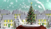 snow globe : Beautiful Christmas animation of Christmas tree in the magical village against the snowflakes falling in background. Snow is falling against the village 4k Stock Footage