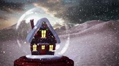 snow globe : Christmas animation of snow house in snow globe. Snow is falling over snowy hills 4k