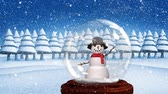 snow globe : Cute Christmas animation of snowman in snow globe. Snow is falling in snowy forest 4k Stock Footage